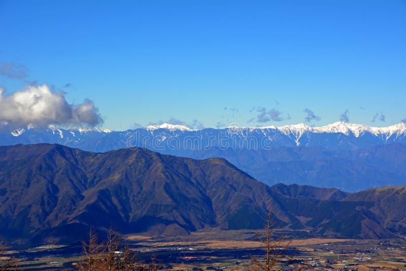 Flyg- sikt från Mount Fuji Morgonfors royaltyfri bild