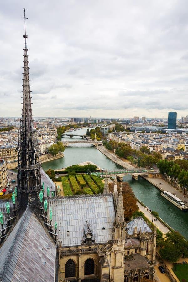 Flyg- sikt från Notre Dame de Paris royaltyfri foto