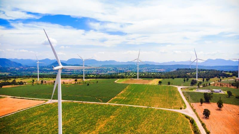 Flyg- sikt från turbinen för flygsurrvind på dagen arkivbild