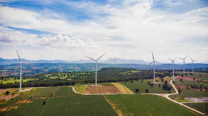 Flyg- sikt från turbinen för flygsurrvind på dagen arkivfoton