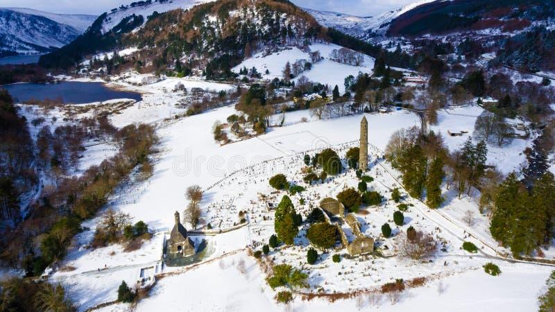 flyg- sikt Glendalough Wicklow ireland royaltyfri fotografi