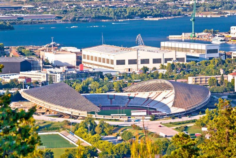Flyg- sikt Hajduk för kluven Poljud stadion arkivbild