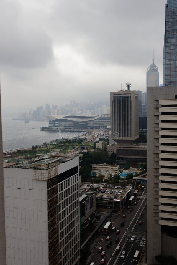 Flyg- sikt, Hong Kong horisont, Cityscape arkivbilder