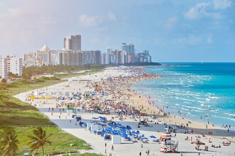 Flyg- sikt i Miami Beach royaltyfria bilder