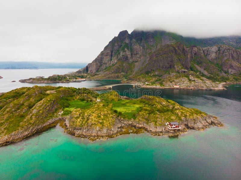 flyg- sikt Lofoten ?ar landskap, Norge fotografering för bildbyråer
