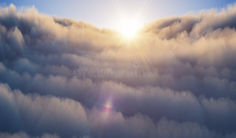 Flyg- sikt ovanför moln på solnedgången V?der och f?rutsett begrepp framf?rd illustration 3d vektor illustrationer
