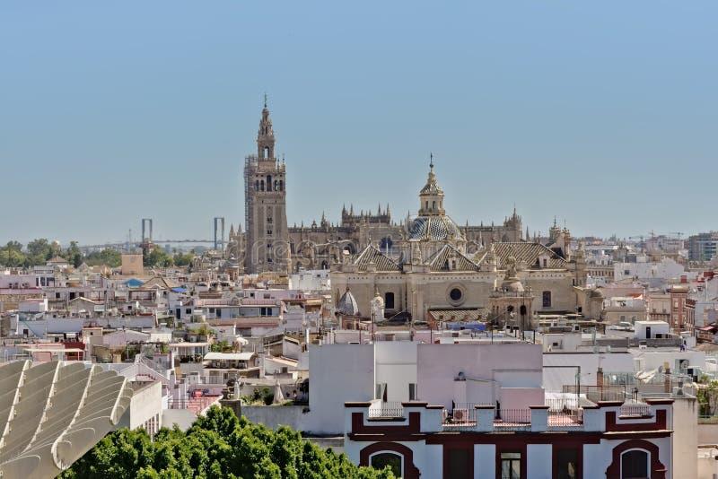Flyg- sikt på den Sevill domkyrkan och Giralda belltower i gotisk stil på en solig dag med klar blå himmel royaltyfri foto