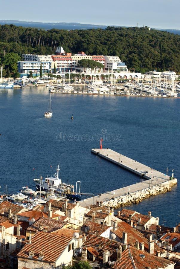 Flyg- sikt på marina i Rovinj, Kroatien royaltyfria bilder