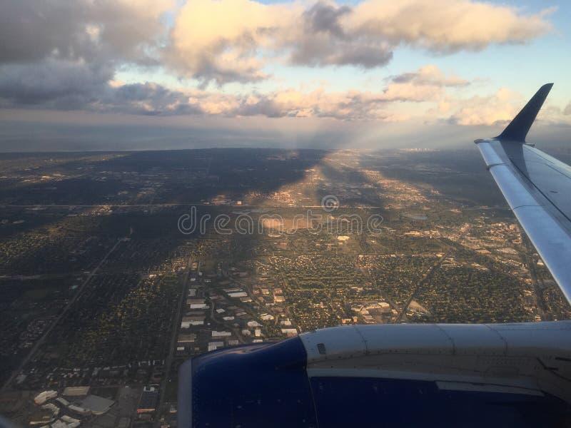 Flyg- sikt på nivån arkivbild
