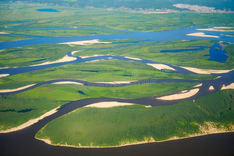 Flyg- sikt på norr Yakutia landskap royaltyfria foton