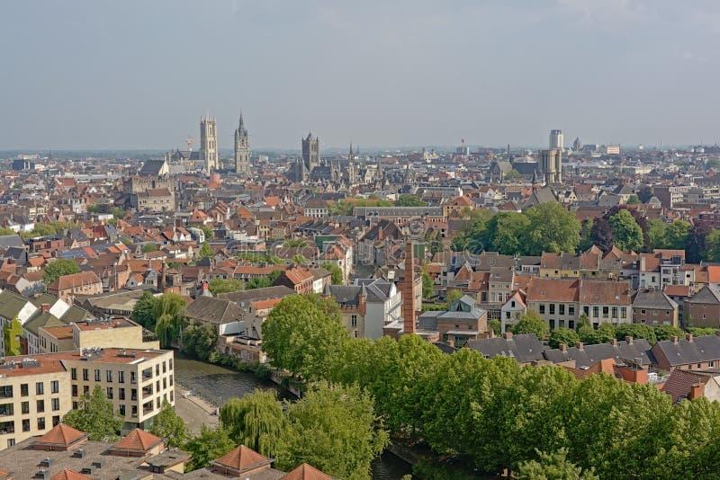 Flyg- sikt på staden av Ghent, Flanders, Belgien arkivfoto