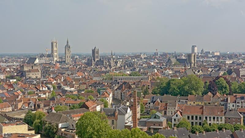 Flyg- sikt på staden av Ghent, Flanders, Belgien arkivfoton