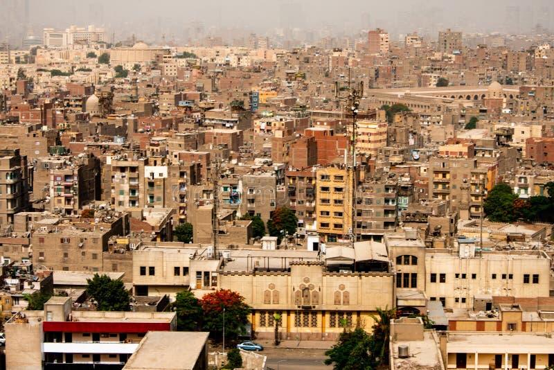 Flyg- sikt på staden av Kairo, Egypten, Afrika Kairo är den största staden på den afrikanska kontinenten arkivbild