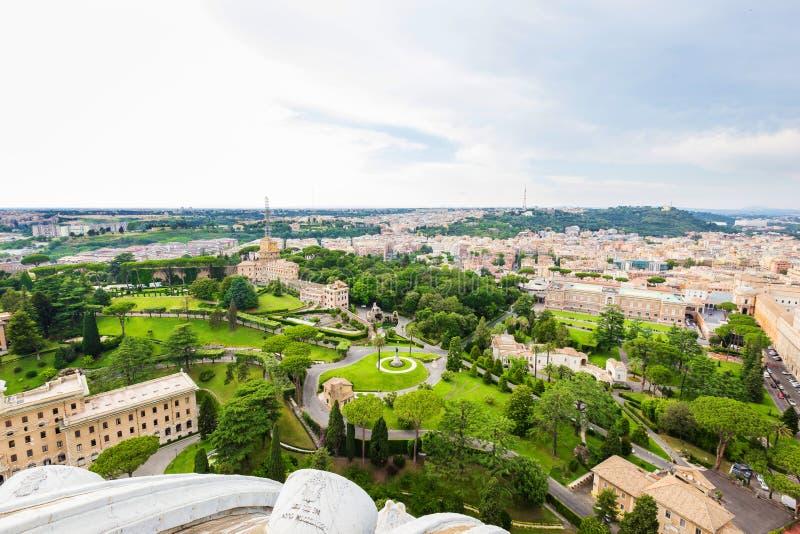 Flyg- sikt på Vaticanenträdgårdar royaltyfri bild