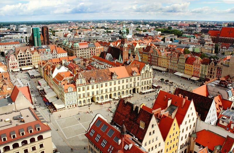 Flyg- sikt på Wroclaw arkivbilder