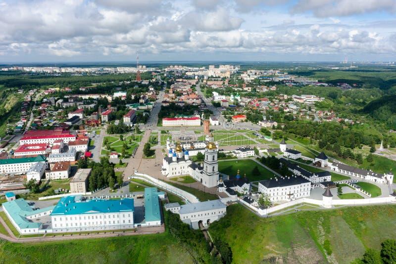 Flyg- sikt p? den Tobolsk Kreml Ryssland arkivfoto