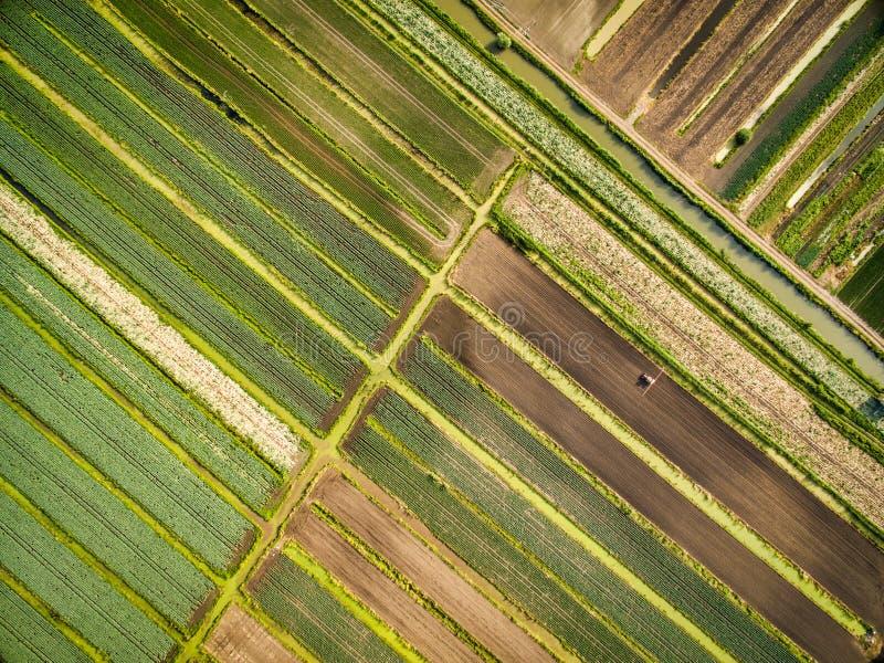Flyg- sikt till fälten i Frankrike, St Lo royaltyfri bild