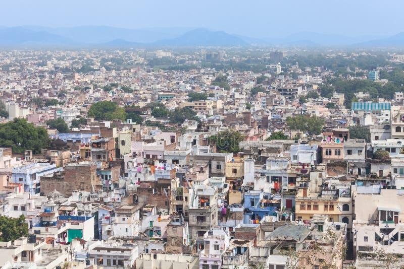 Flyg- sikt Udaipur, Indien fotografering för bildbyråer