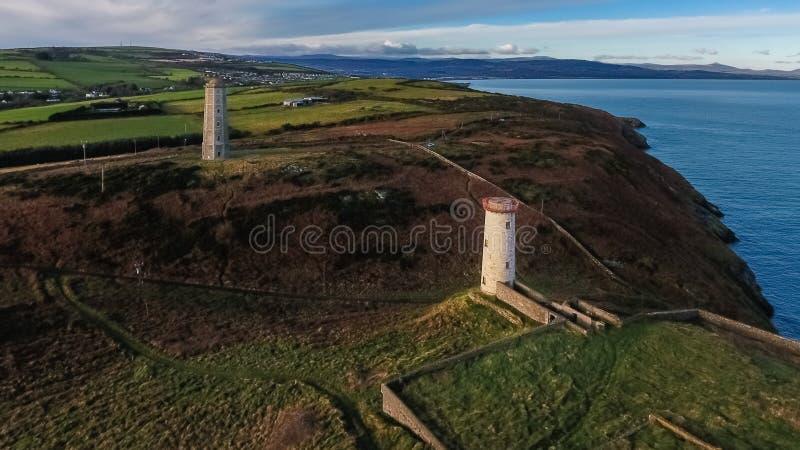 flyg- sikt Wicklow huvudfyr ståndsmässiga Wicklow ireland arkivfoto