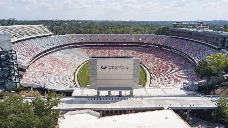 Flyg- sikter av Sanford Stadium royaltyfri foto