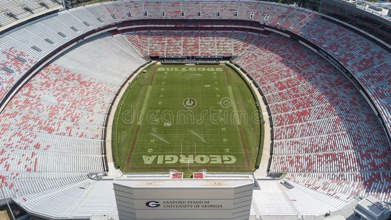 Flyg- sikter av Sanford Stadium royaltyfri fotografi