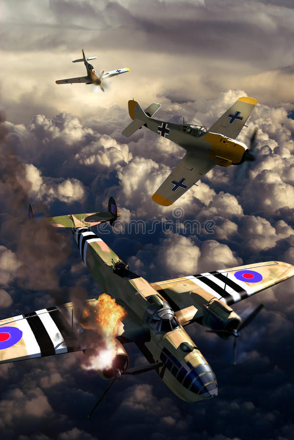 flyg- slagsmål ii kriger världen royaltyfri illustrationer