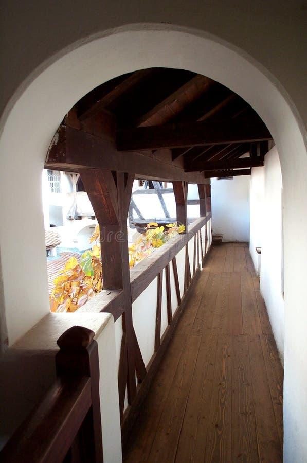 flyg- slott stärkt passage arkivbild