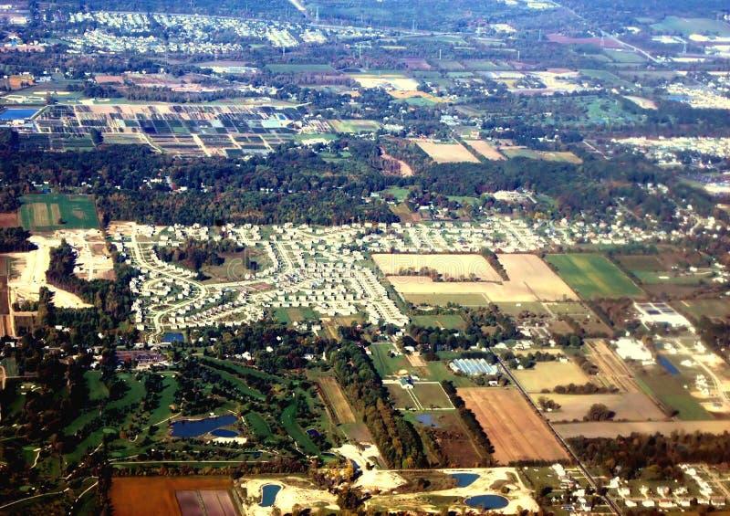 flyg- stadscleveland sikt arkivbilder