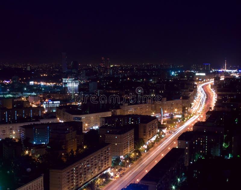 flyg- stadsmoscow natt royaltyfri fotografi
