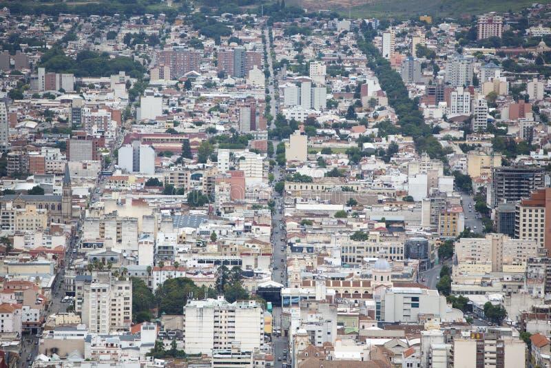 Flyg- stadssikt av Salta, Argentina fotografering för bildbyråer