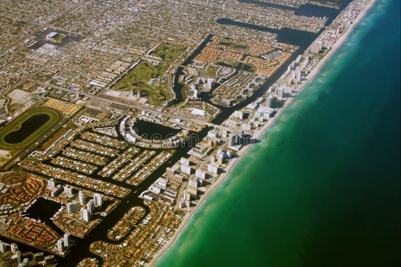 flyg- strand södra miami fotografering för bildbyråer
