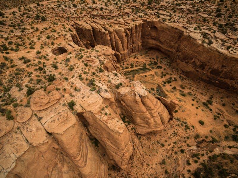 Flyg- surrfoto - det härliga ökenlandskapet av Moab Utah arkivfoton