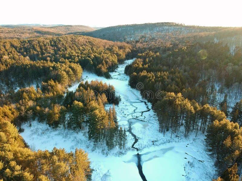 Flyg- surrskott av den slingriga floden till och med vinterskog arkivbild