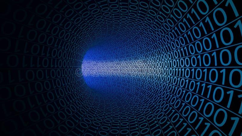 Flyg till och med abstrakt begreppblåtttunnelen som göras med noll och en modern bakgrund Datorer överföring för binära data royaltyfri fotografi