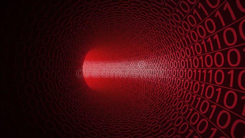 Flyg till och med den abstrakta röda tunnelen som göras med noll och en modern bakgrund Fara hot, överföring för binära data vektor illustrationer
