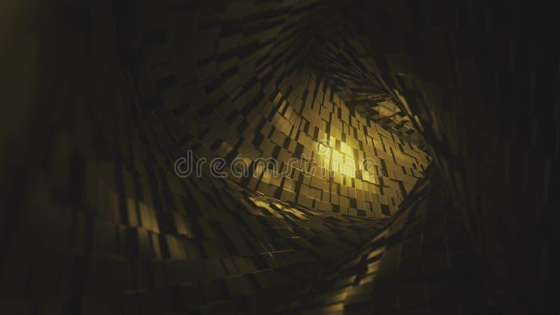 Flyg till och med den abstrakta tunnelen som göras av guld- tegelstenar framf?rande 3d stock illustrationer