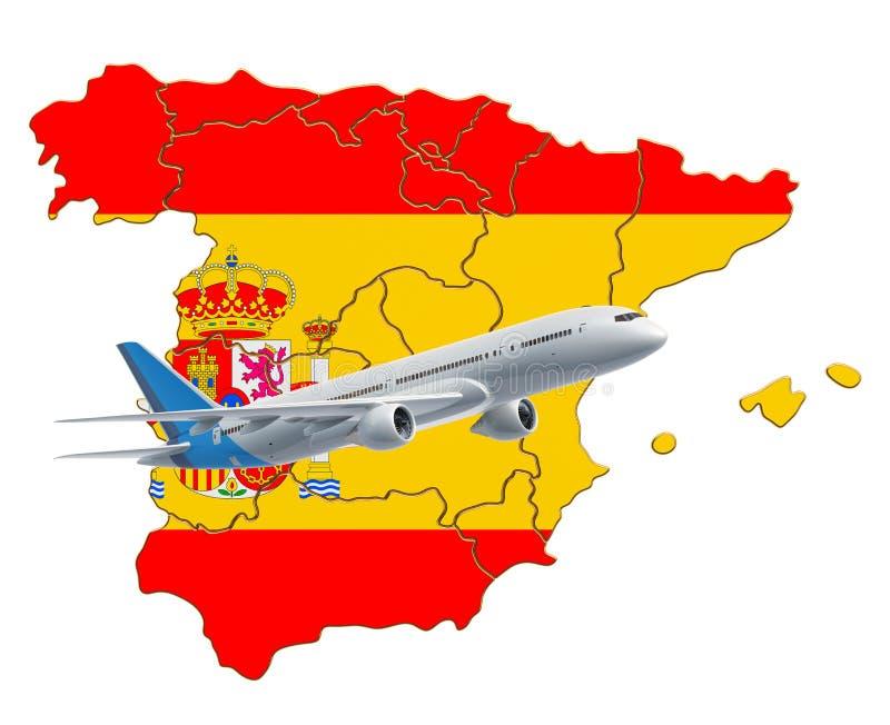Flyg till Spanien, loppbegrepp framf?rande 3d royaltyfri illustrationer