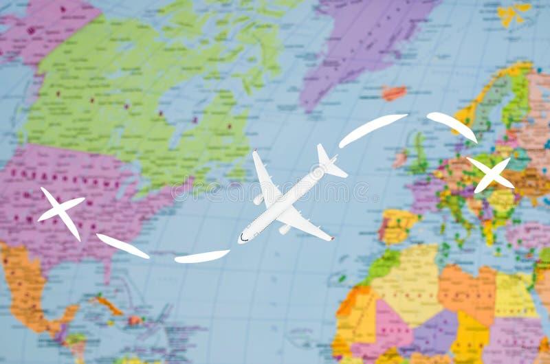 Flyg till USA den symboliska bilden av loppet förbi den plana översikten royaltyfria bilder
