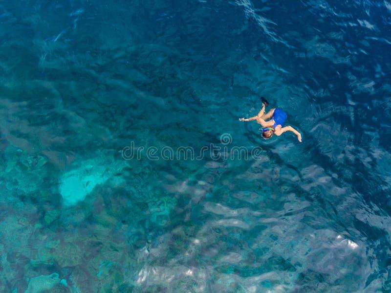 Flyg- ?verkant ner folk som snorklar p? det tropiska karibiska havet f?r korallrev, turkosbl?tt vatten Indonesien Wakatobi sk?rg? arkivbilder