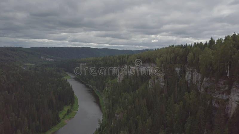 Flyga över den härliga bergfloden och det härliga skoggemet Flyg- sikt av den mystiska floden på soluppgång med dimma arkivbild