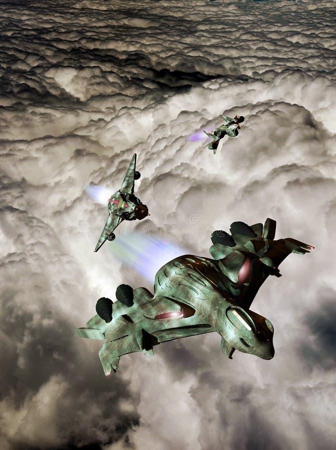 Flyga över moln royaltyfri illustrationer