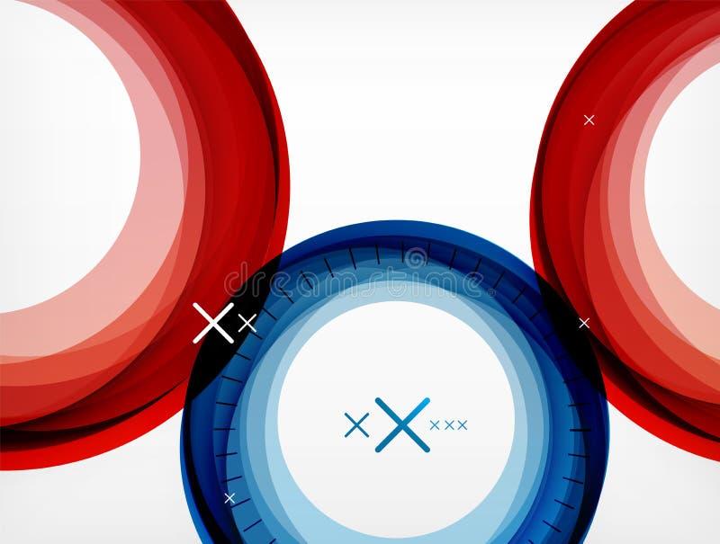 Flyga abstrakt begreppcirklar, den geometrisk bakgrund för vektor, färgluftbubblor, rengöringsdukbanermallen, affär eller teknolo vektor illustrationer