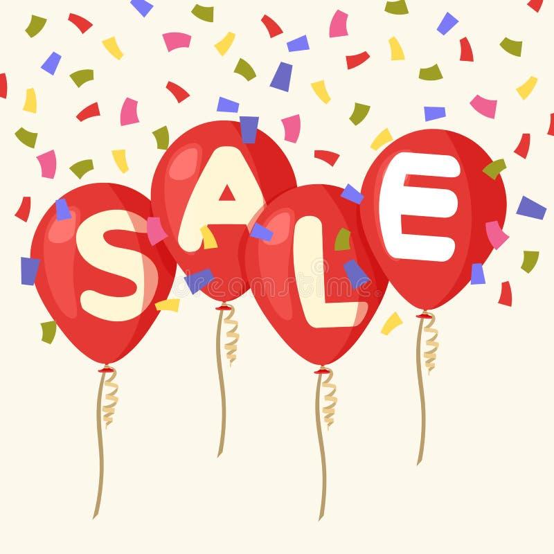 Flyga ballonger, shoppar begreppet av försäljningen för i plan stil kulöra konfettiar Fyra röda flygpartiballonger som isoleras m stock illustrationer