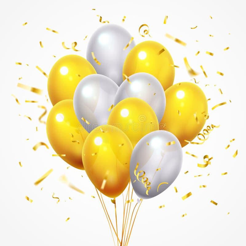 Flyga ballonggruppen Guld- skinande fallande konfettier, glansig guling och vithelium sväller med den guld- vektorn för bandet 3d stock illustrationer