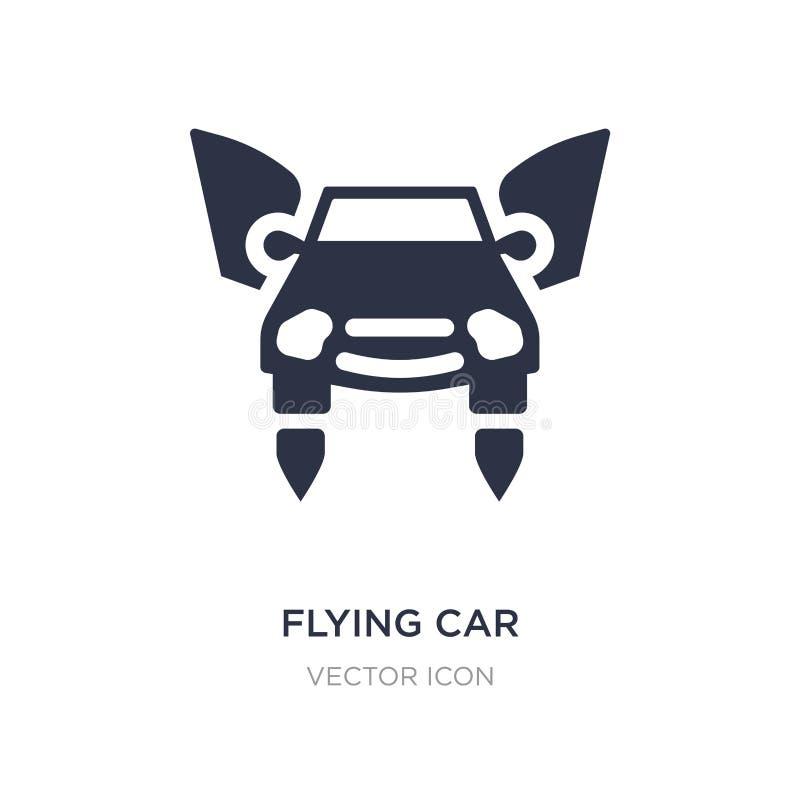 flyga bilsymbolen på vit bakgrund Enkel beståndsdelillustration från det framtida teknologibegreppet vektor illustrationer