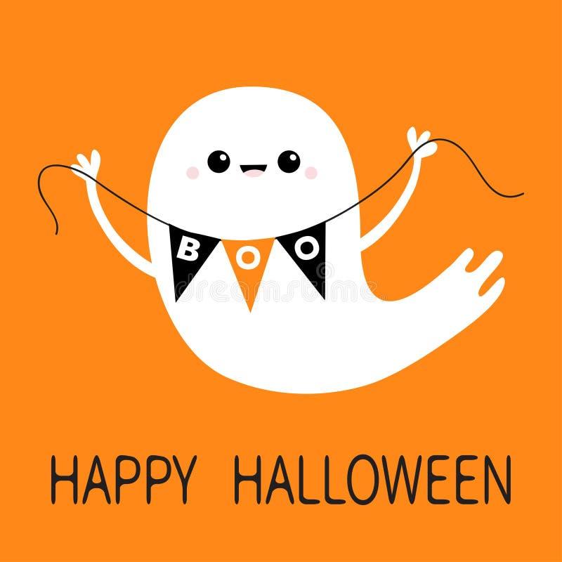 Flyga bu för flagga för bunting för spökeande hållande lyckliga halloween Läskiga vitspökar Spöklikt tecken för gullig tecknad fi royaltyfri illustrationer