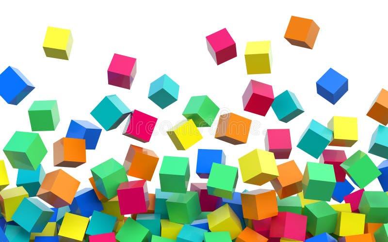 Flyga 3D färgade kuber på vit bakgrund vektor illustrationer
