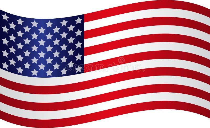 Flyga den amerikanska nationsflaggan med silverstjärnor royaltyfri illustrationer