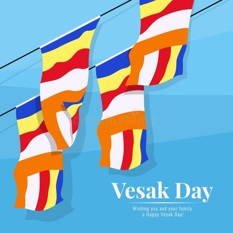 Flyga den buddistiska flaggan på blå bakgrund i design för vektor för vesakdagbaner stock illustrationer