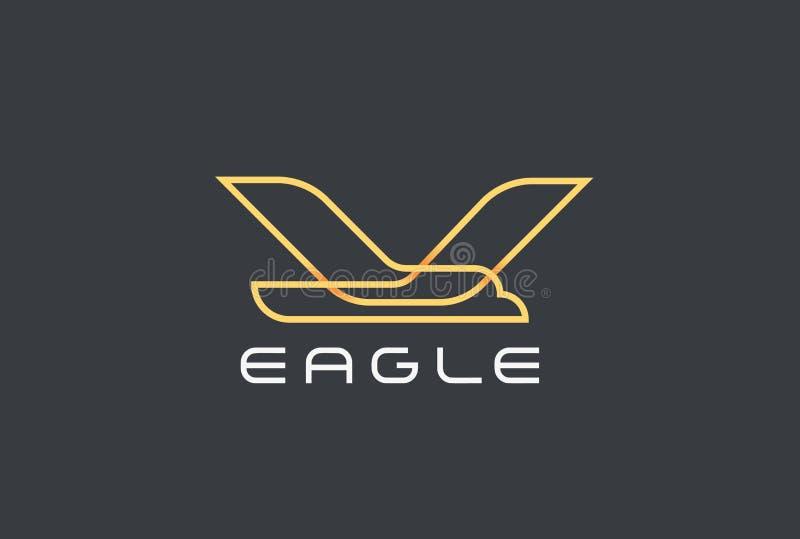 Flyga den Eagle Bird Logo Airlines designvektorn geo royaltyfri illustrationer